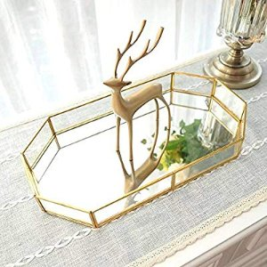 Amazon.com: Decorative Tray ,Vintage Glass Jewelry Tray with Mirrored Bottom Vanity Organizer for Accent Table,Gold Leaf Finish: Home & Kitchen