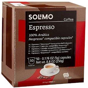 $11.5 部分用户再享额外6折Amazon Brand Solimo Espresso 胶囊咖啡50粒 多口味