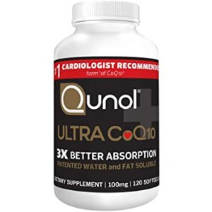 Qunol Ultra CoQ10 100mg, 3x Better Absorption, Patented Water and Fat Soluble Natural Supplement Form of Coenzyme Q10,120 Count Softgels