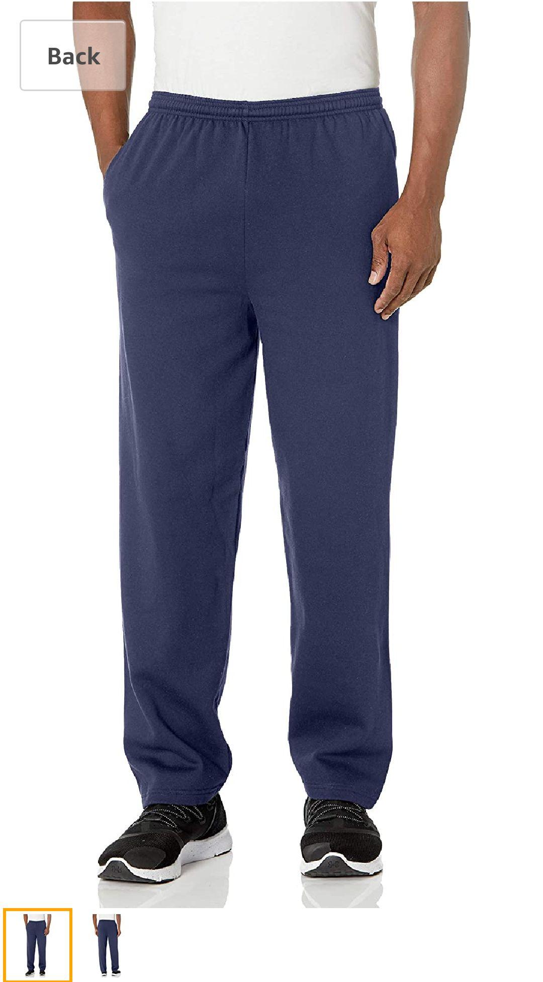 Hanes男生运动裤 mens Ecosmart Fleece Sweatpant With Pocket Pants, Navy, Large US at Amazon Men's Clothing store