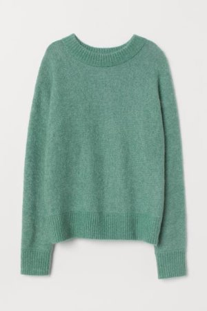 Knit Mohair-blend Sweater - Green - Ladies | H&M US