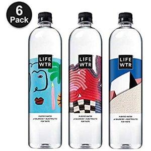 $7.11 一瓶只需$1.19LIFEWTR PH平衡电解质水运动瓶 1L 6瓶