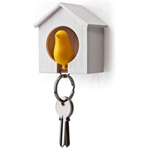 Amazon.com : Birdhouse Key Ring - Brown House with Yellow Bird : Key Hooks : Office Products