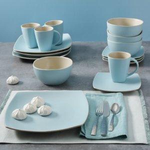 Walmart Gibson Home Soho Lounge Pastel Blue 16-Piece Dinnerware Set