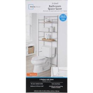 Mainstays 3-Shelf Bathroom Over the Toilet Space Saver with Liner, Satin Nickel - Walmart.com