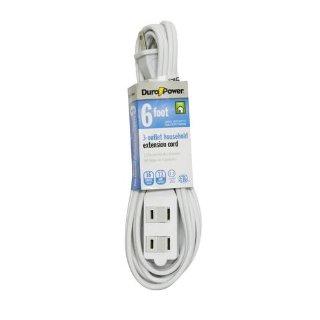 $0.94 收一根备用Dura Power 室内通用电源延长线 6' 16/2
