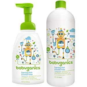 Amazon.com: Babyganics Foaming Dish and Bottle Soap, Fragrance Free, 16oz Pump Bottle (Pack of 3): Health & Personal Care