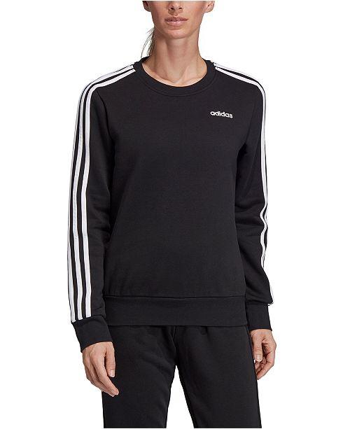adidas Women's Essentials 3-Stripe Fleece Sweatshirt & Reviews - Women - Macy's 时尚经典三条杠卫衣