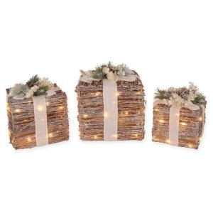 LED Decorative Rattan Gift Boxes (Set of 3)   Bed Bath & Beyond