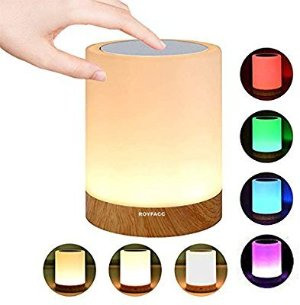 ROYFACC Night Light Touch Sensor Lamp Bedside Table Lamp for Kids Bedroom Rechargeable Dimmable Warm White Light + RGB Color Changing - - Amazon.com