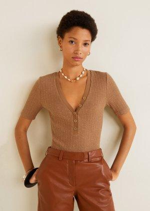 Bottoned ribbed t-shirt - f foPlain Women | Mango USA