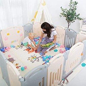 Uanlauo 可折叠儿童安全围栏 14片