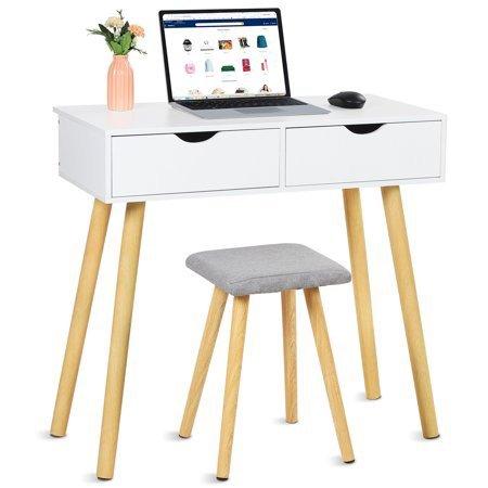 Oumilen 两抽屉化妆台/小书桌 带凳子