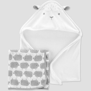 Baby's Sheep Bath Towel Set - Just One You® made by carter's White/Gray : Target