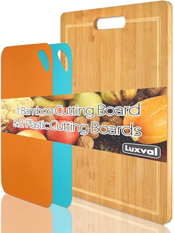 Luxval 超大号有机竹制切菜板+彩色塑料柔性切割垫2个