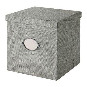 KVARNVIK Storage box with lid, gray - 11 ¾x11 ¾x11 ¾