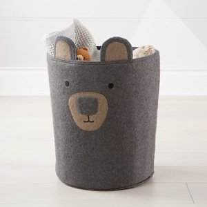 Bear Grey Toy Bin + Reviews | Crate and Barrel