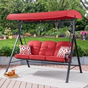 $169.79Mainstays 3人室外秋千椅 红色带阳棚