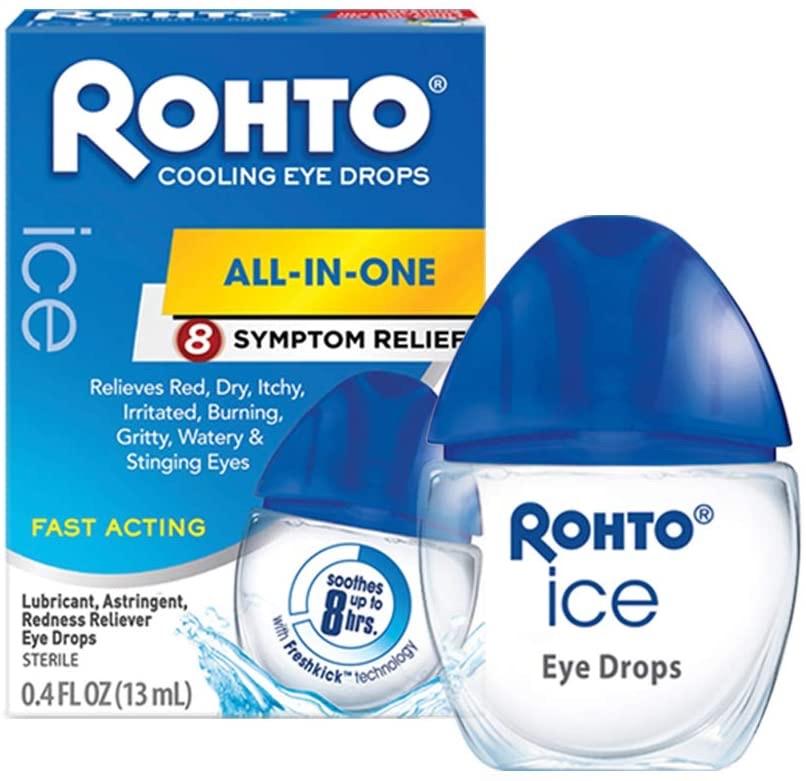 乐敦蓝瓶眼药水三瓶装Rohto Ice All-in-one, Multi-Symptom Relief Cooling Eye Drops, 0.4 oz, 3Count: Health & Personal Care