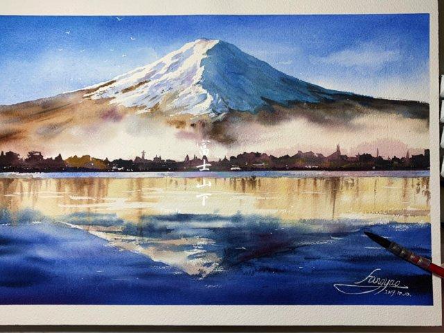 原创水彩教程|富士山下🗻让富士山私有