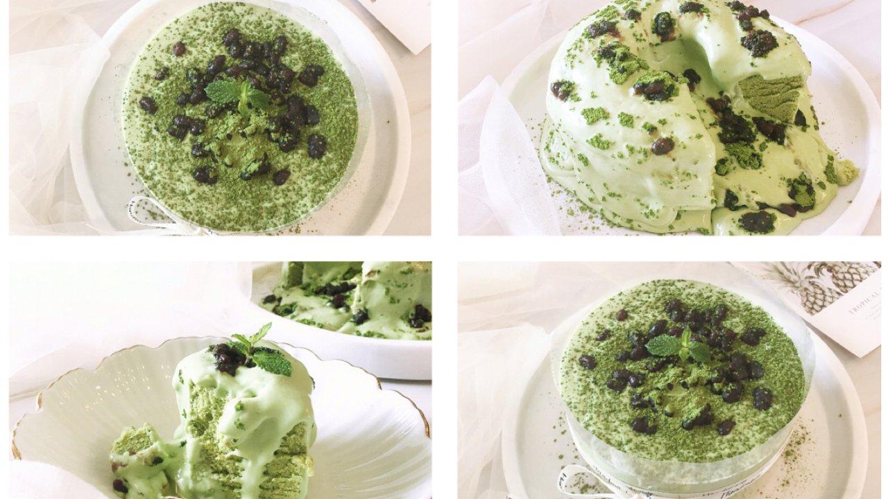 一抹小清新 |抹茶红豆爆浆蛋糕
