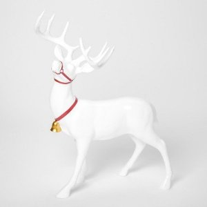 Decorative Figurine Reindeer with Collar - White - Threshold™ : Target