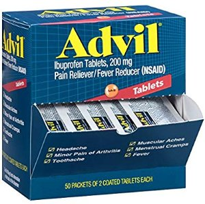 Amazon.com: Advil (50 Packets of 2 Capsules) Pain Reliever / Fever Reducer Coated Tablet, Individually Sealed, 200mg Ibuprofen, Temporary Pain Relief, Travel Pack: Health & Personal Care
