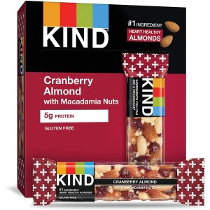 $11.31KIND Bars, Cranberry Almond + Antioxidants with Macadamia Nuts, Gluten Free, Low Sugar, 1.41 Ounce (12 Count)