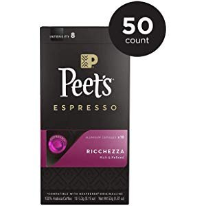 Amazon.com : Peet's Coffee Espresso Capsules Crema Scura Intensity 9 (50 Count) Compatible with Nespresso Original Brewers Single Cup Coffee Pods : Grocery & Gourmet Food