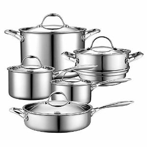 Amazon.com: All-Clad Cookware Set, Pots and Pans Set, 10 Piece, Stainless Steel, Tri-Ply Bonded, Silver: Kitchen & Dining
