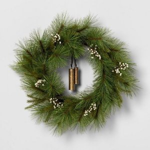 Wreath White Berry Pine Needle with Bell - Hearth & Hand™ with Magnolia : Target