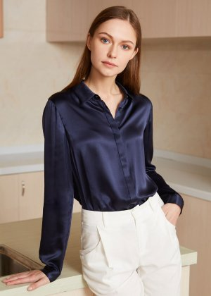 22MM Relaxed Consealed Placket Silk Shirts
