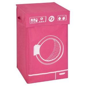 Honey Can Do Laundry Hamper with Lid and Washing Machine Theme