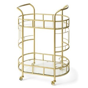 Better Homes & Gardens Fitzgerald 2-Tier Bar Cart, Gold - Walmart.com