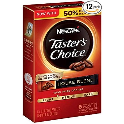 $10.03Nescafe Taster's Choice Instant Coffee, House Blend, 0.1 Ounce, 6 Count (Pack of 12)