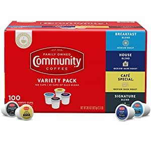$25.29 only $0.25 eachCommunity Coffee Variety Pack Coffee Pods, 100 Count, Medium to Dark Roast, Compatible with Keurig 2.0 K-Cup Brewers, Box of 100 Pods
