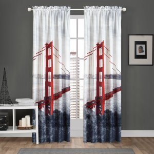 Mainstays Golden Gate Photoreal Curtain Panel, Set of 2