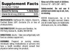 Amazon.com: Amazon Brand - Solimo Vitamin D3 50 mcg (2000 IU), 250 Softgels, Eight Month Supply: Health & Personal Care