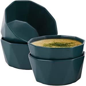 Hompiks 22oz 陶瓷碗4个 墨绿色/白色