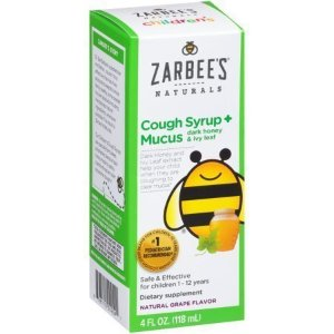 Zarbee's Naturals Children's Cough Syrup + Mucus with Dark Honey & Ivy Leaf , Natural Grape Flavor, 4 Fl. Ounces (1 Box) - Walmart.com