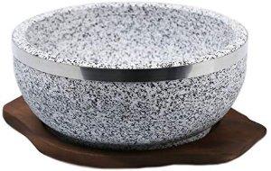 Amazon.com: KoreArtStory Dolsot-Bibimbap Stone Bowls Set of 1 32-Oz (POT1 + Wood base 1+ Bibimbap Recipe) Cooking Korean Soup and Food: Kitchen & Dining