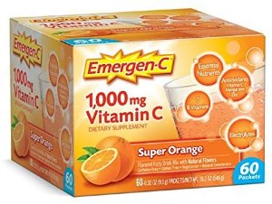 Amazon.com: Emergen-C (60 Count, Super Orange Flavor, 2 Month Supply) Dietary Supplement Fizzy Drink Mix with 1000mg Vitamin C, 0.32 Ounce Packets, Caffeine Free: Health & Personal Care
