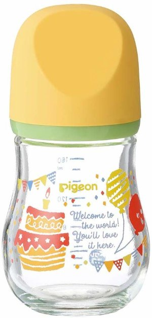 Amazon.com : Pigeon Breast Feeding Baby Bottle My Precious Heat-Resistant Glass Party 160 ml 0 Months ~ : Baby