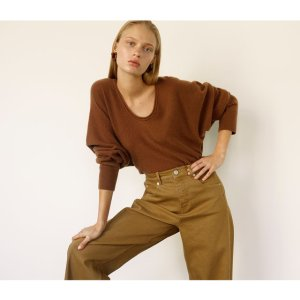 Camel High Waist Barrel Leg Jean | WHISTLES