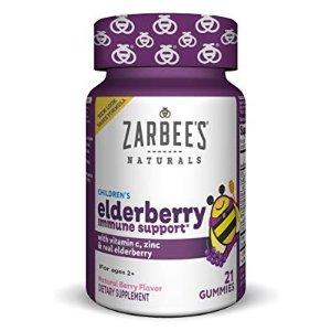 Zarbee's Naturals Children's Elderberry Immune Support* Gummies with Vitamin C, Zinc, Natural Berry Flavor, 21 Count