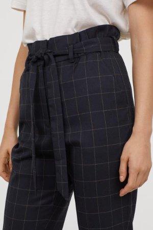 Paper-bag Pants - Dark blue/checked - Ladies | H&M US