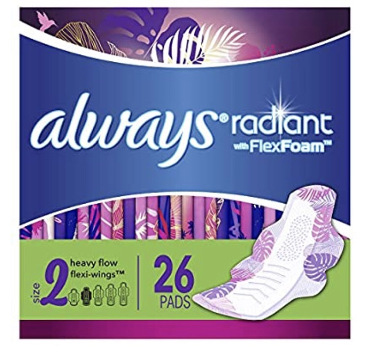 Amazon.com: Always Radiant Feminine Pads for Women, Size 2, 78 Count, Heavy Flow Absorbency, with Flexfoam Wings, Light Clean Scent, 26 Count, Pack of 3 - 78 Count Total): Health & Personal Care卫生巾