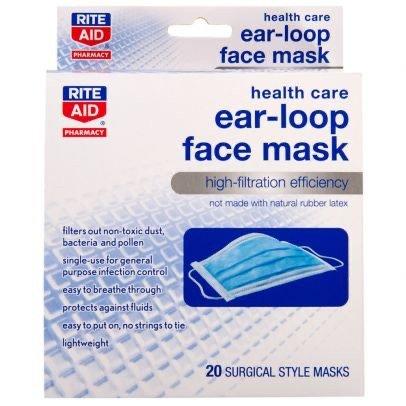 Rite Aid Health Care Ear-Loop Face Mask - 20 ct $2.99 ...