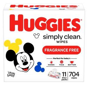 $41.95 送$10礼卡Huggies Simply Clean 无香型婴儿湿巾 704张 3箱