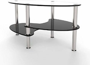 Amazon.com: Ryan Rove Orion - Oval Two Tier Glass Coffee Table - Coffee Tables for Living Room, Kitchen, Bedroom and Office - Glass Shelves Under Desk Storage - Clear and Black Glass: Gateway